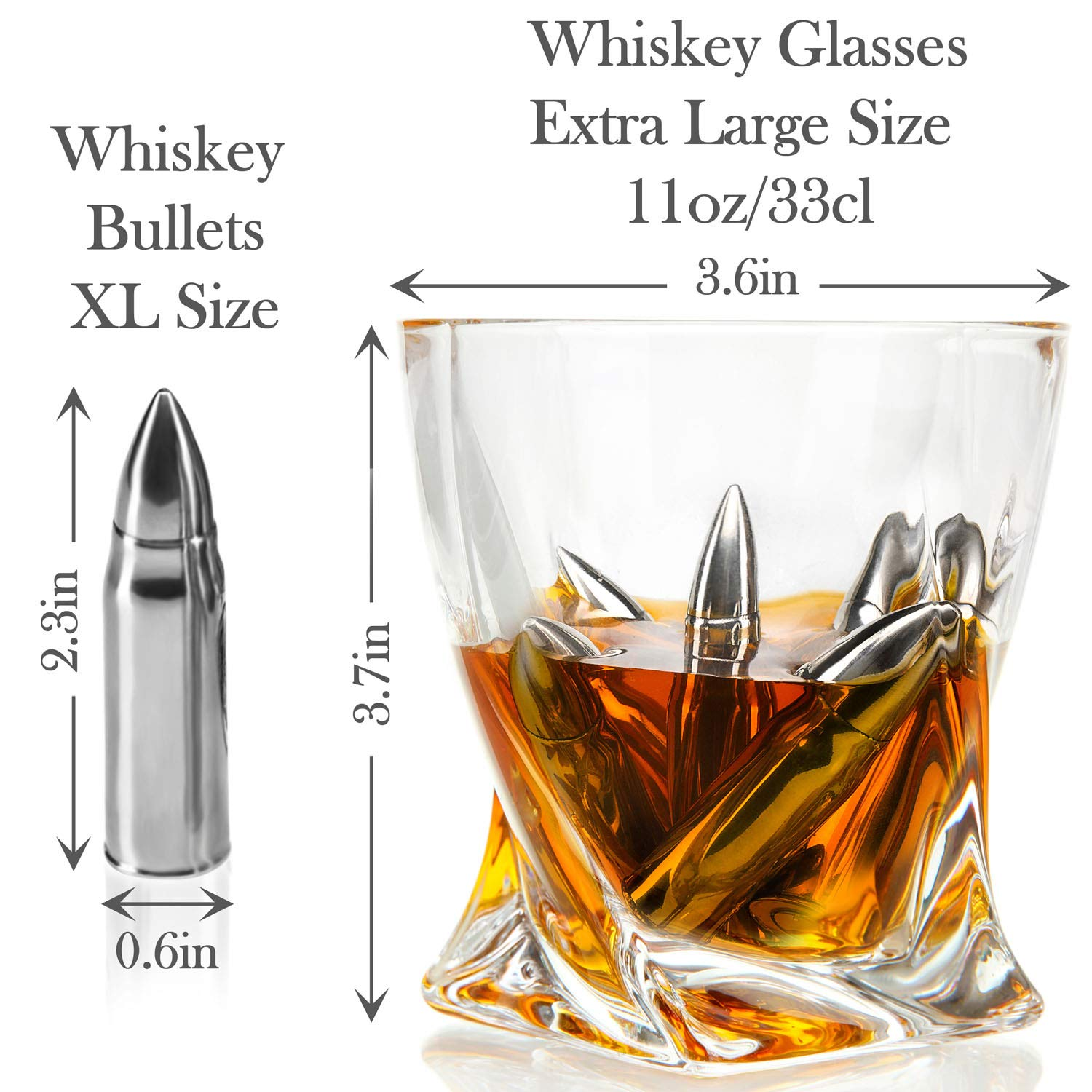 Whiskey Bullet Stones Premium Gift Set By Frolk, Set Of 6 Extra Large Stainless Steel Whiskey Stones, 2 Large Twisted Whiskey Glasses (11 oz), Freezer Base, Velvet Pouch & Tongs In Novelty Wooden Box by Frolk (Image #3)