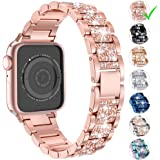 LELONG for Apple Watch Band 38mm 40mm 42mm 44mm Series 5 Series 4 3 2 1, Bling Replacement Bracelet iWatch Band, Diamond Rhinestone Stainless Steel Metal Wristband Strap