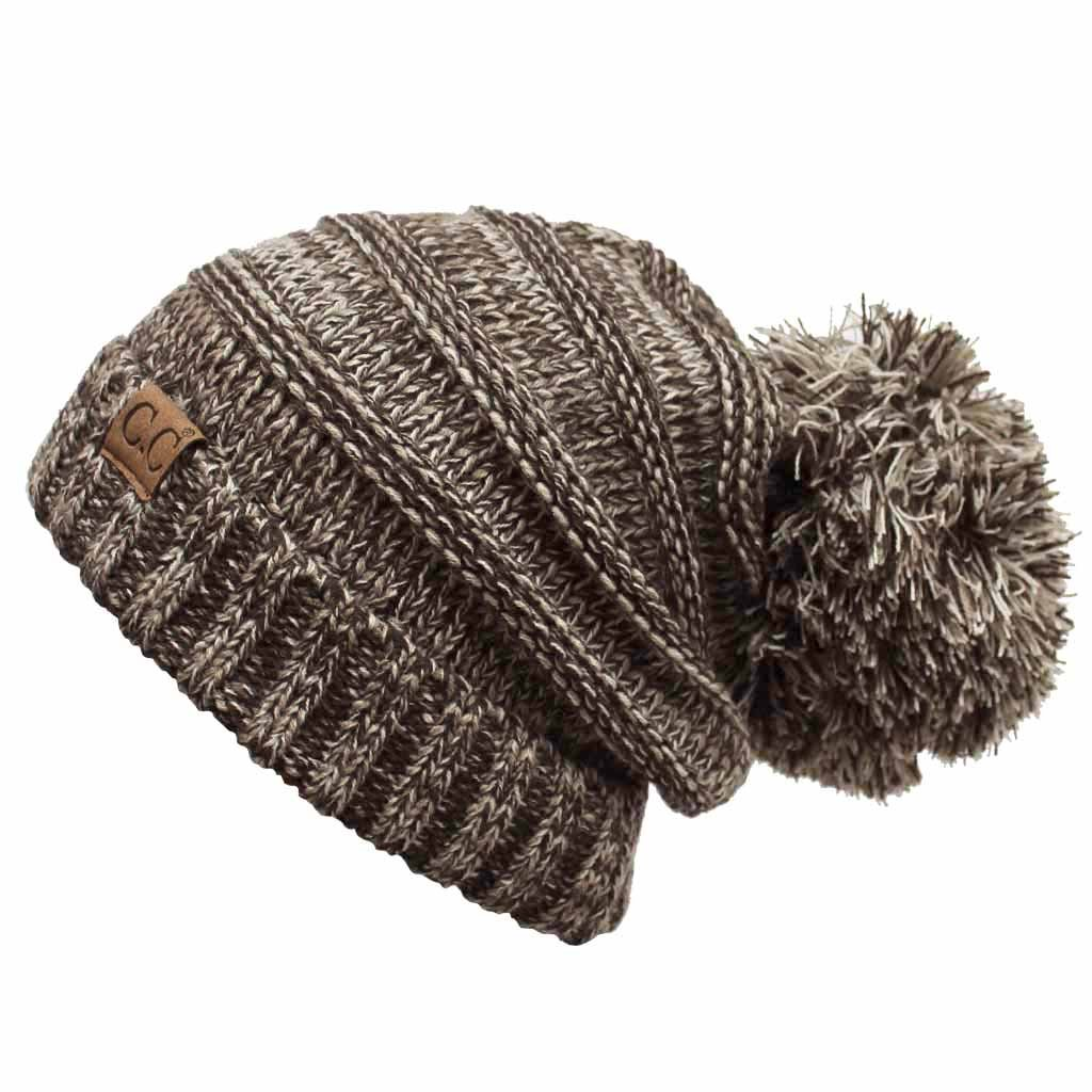 e117aee4c88 ScarvesMe CC Oversize Tri Color Slouchy Beanie with Pom Pom (Black) at Amazon  Women's Clothing store: