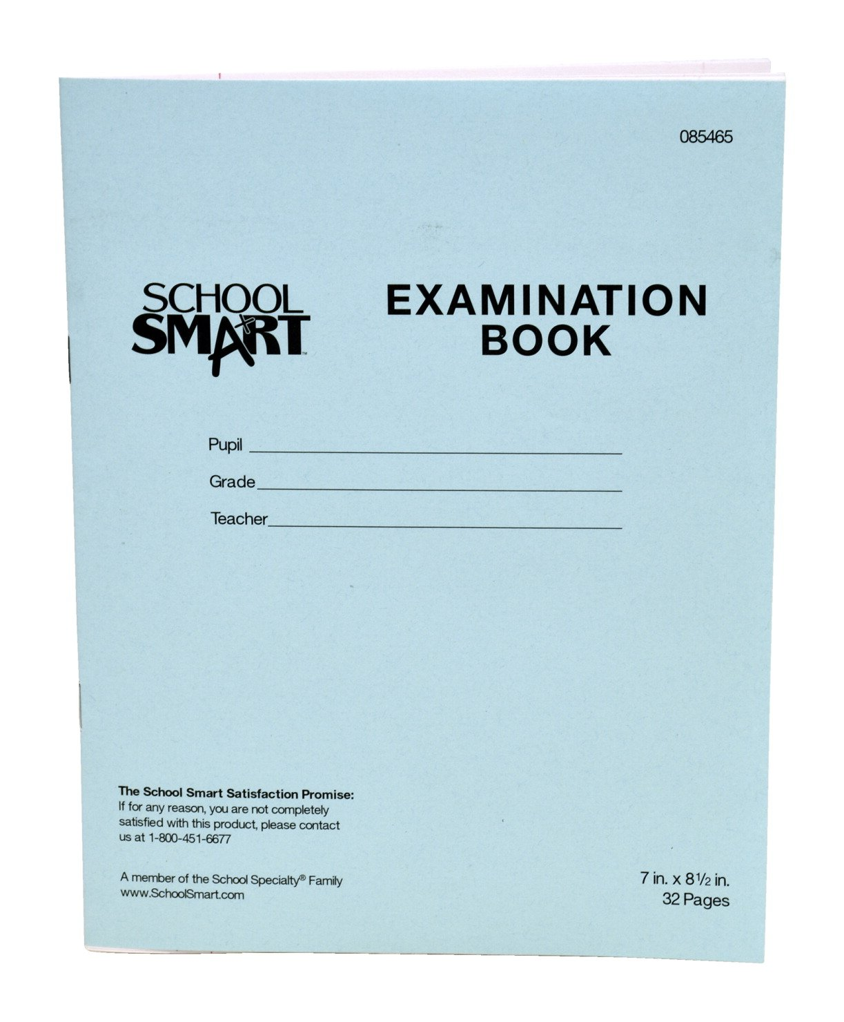 School Smart Ruled Examination Blue Books with Margin - 7 in x 8 1/2 in - Pack of 50, 32 Page Books