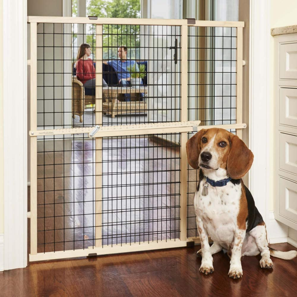 """North States MyPet 37"""" Tall & 48"""" Wide Wire Mesh Gate: Simply Expand and Lock in Place. Pressure Mount. Fits 29.5""""- 48"""" Wide (37"""" Tall, Sustainable Hardwood)"""
