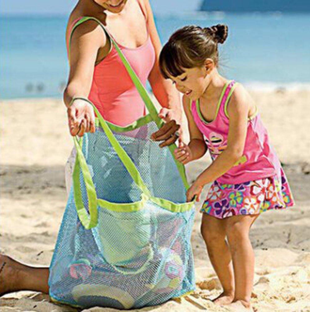 WeiMay bolsa de playa bolsa de almacenamiento grande azul de malla
