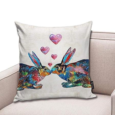 BlueBling Fashion Funny Throw Pillow Covers Bunny Rabbit Art ...