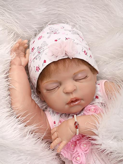 "22/"" Reborn Baby Dolls Full Body Vinyl Silicone Girl Doll Realistic Newborn Gift"