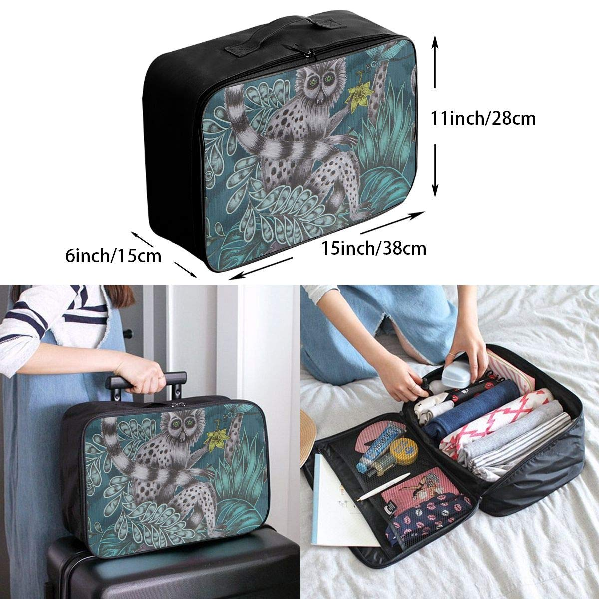 Travel Luggage Duffle Bag Lightweight Portable Handbag Lemur Pattern Large Capacity Waterproof Foldable Storage Tote