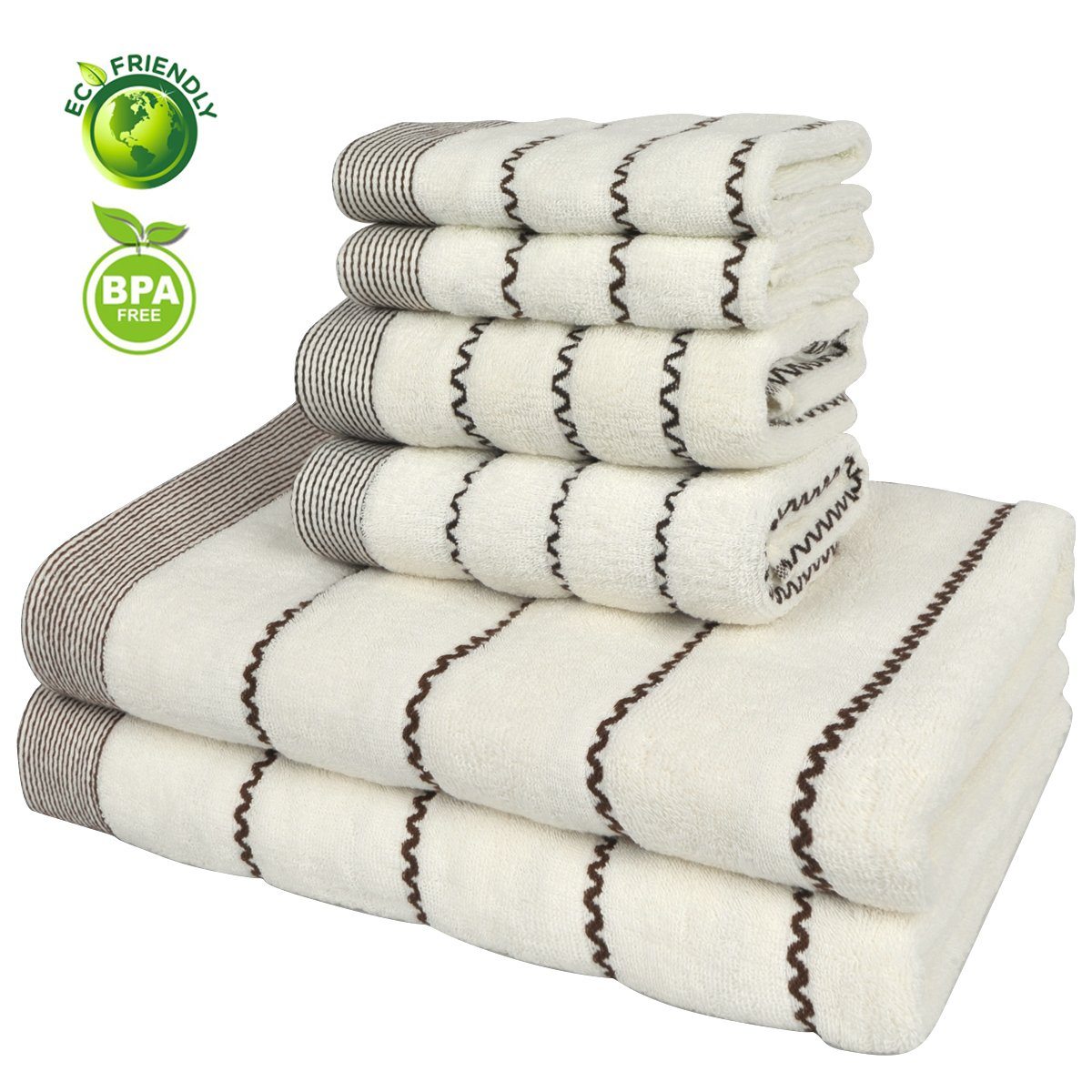 Vanca Bath Towels Sets Cotton Prime Soft Durable Absorbent Large Shower Beach Terry Luxury Classic Design Stripe Kids Towel (Beige)