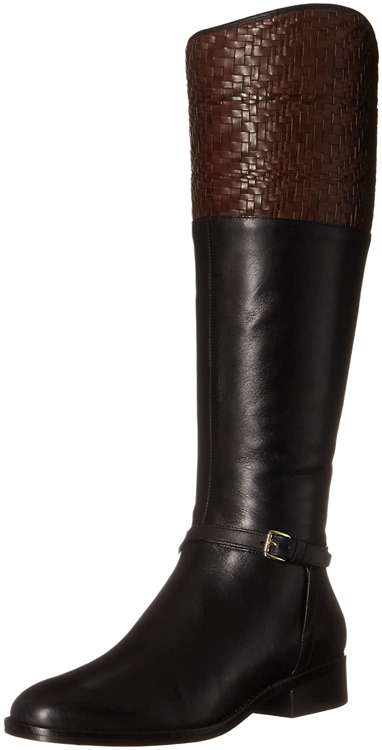 Cole Haan Women's Genevieve Weave Riding Boot B01IQPD1QA 8.5 B(M) US|Black Leather/Chestnut Weave