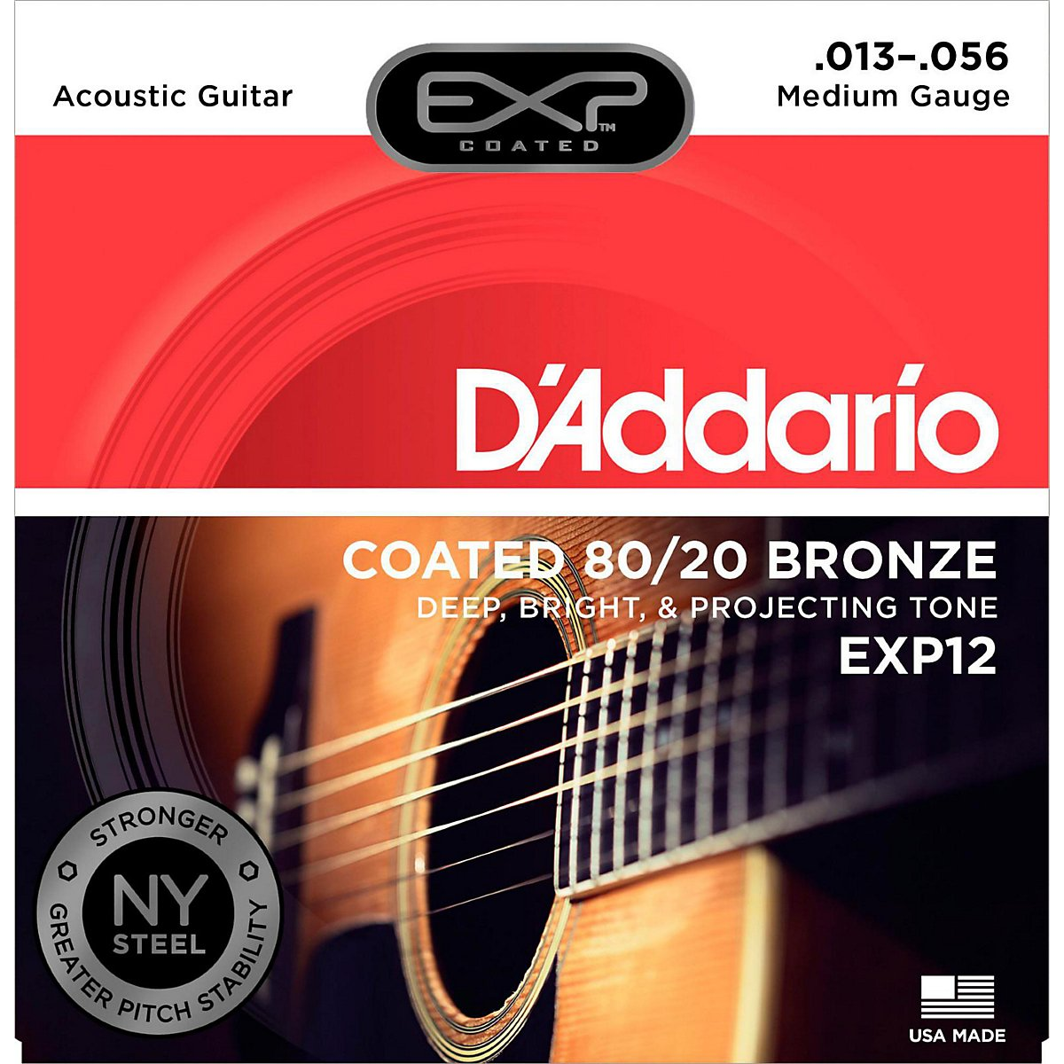 D'Addario EXP12 Coated 80/20 Bronze Acoustic Guitar Strings, Medium, 13-56 D' Addario