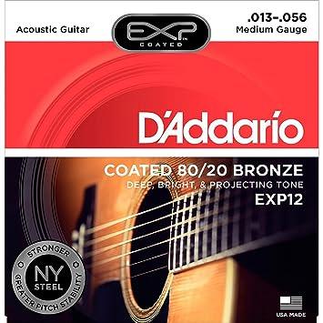 DAddario EXP12 - Juego de cuerdas para guitarra acústica de bronce, 013
