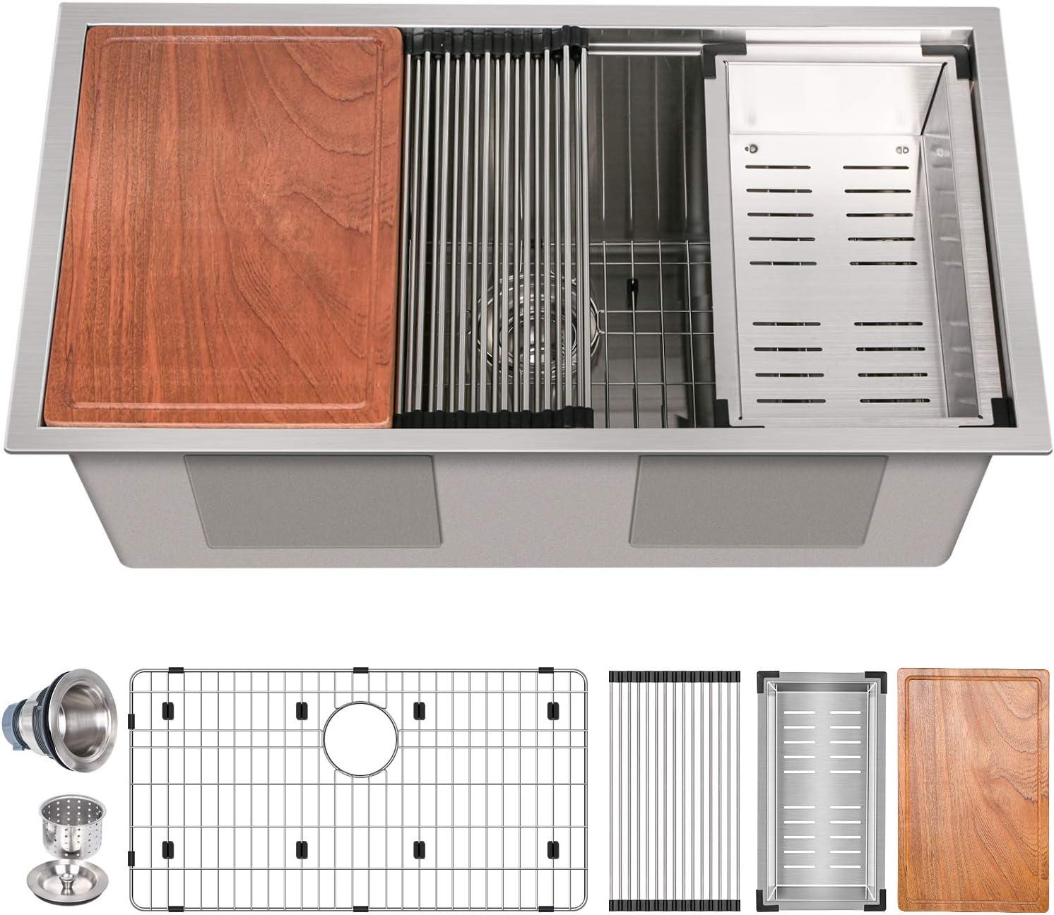 Hykolity 32 inch Workstation Undermount Kitchen Sink Kit, Stainless Steel 16 Gauge Single Bowl Under Counter, 32x19x12 in