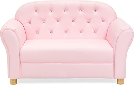 Best Choice Products 36in Upholstered Tufted Mini Sofa Couch for Kids, Toddlers, Nursery, Playrooms w/Gem Studs, Pink