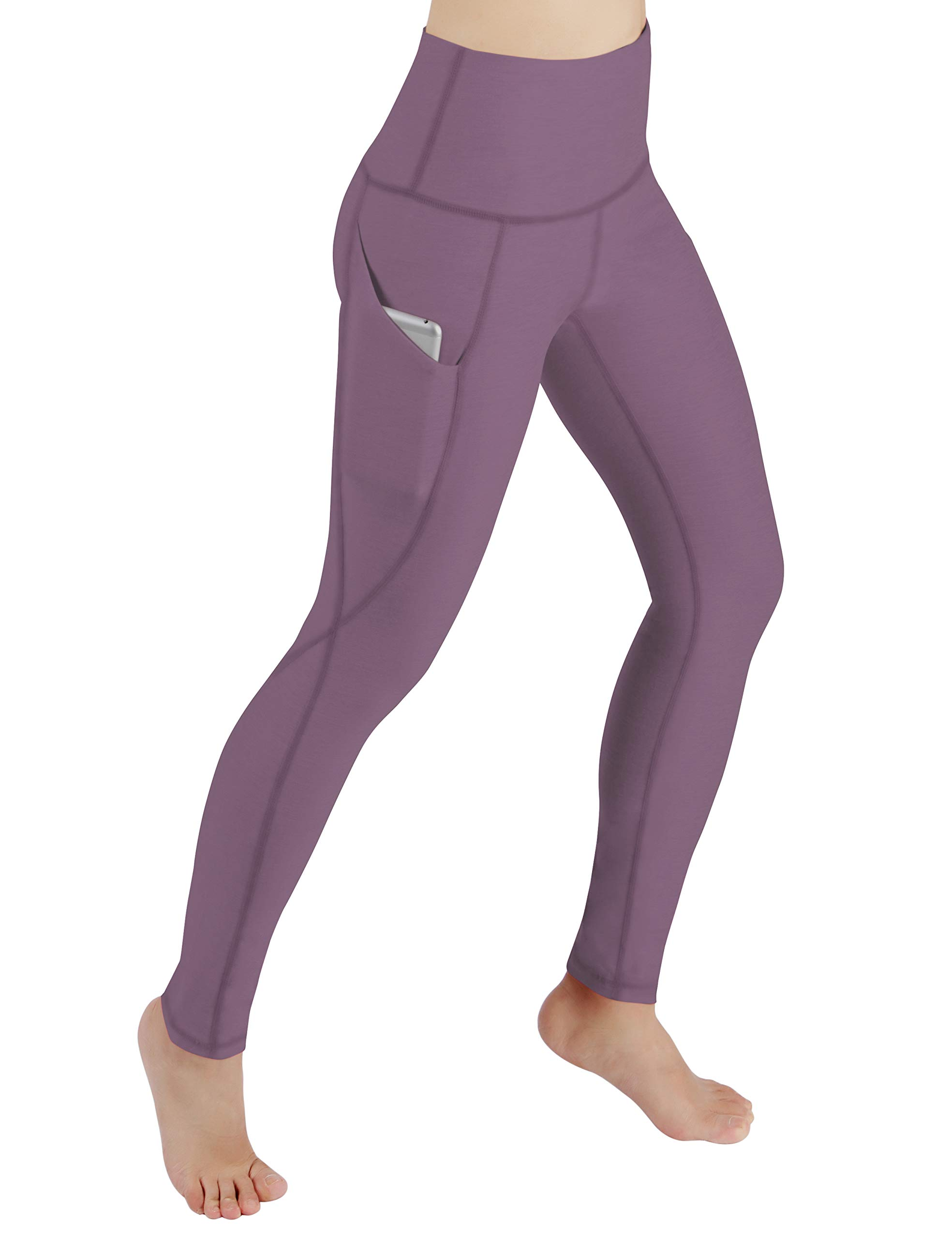 ODODOS Women's High Waist Yoga Pants with Pockets,Tummy Control,Workout Pants Running 4 Way Stretch Yoga Leggings with Pockets,Lavender,X-Large by ODODOS