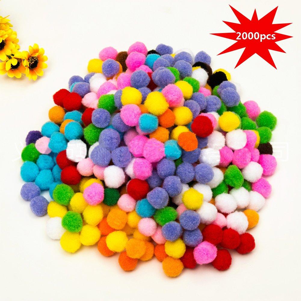 10mm Mini Pom Poms per Hobby e DIY Creativo Crafts Decorazioni da EarthSafe - 2000 PCS, Colori Assortiti