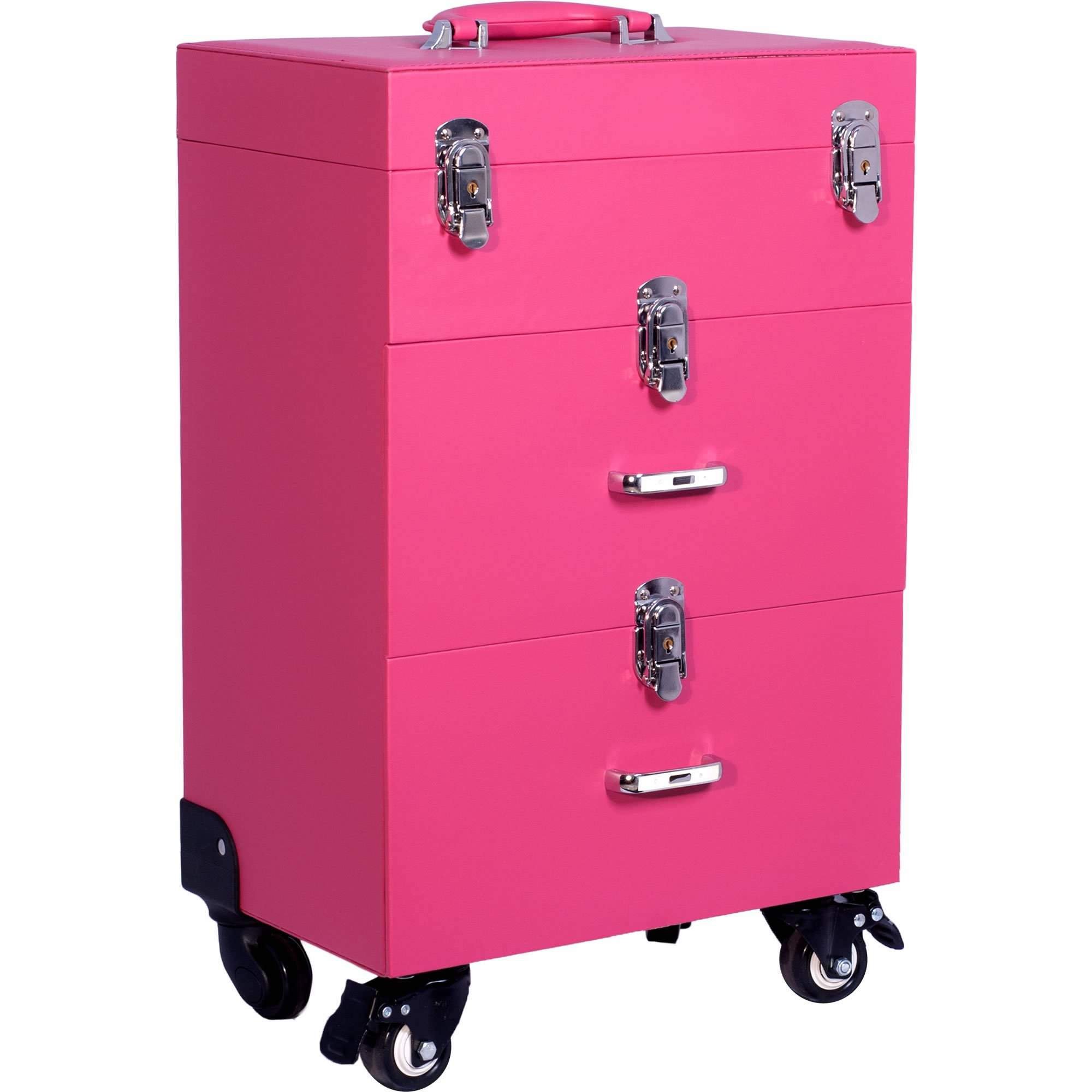 Sunrise Faux Leather Professional Nail Artistry 4 Wheel Rolling Makeup Case, Pink by SunRise