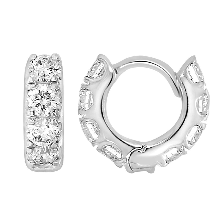 Men's and Women's 10k White Gold 3/4 cttw Round-Cut Diamonds Helix Piercing Hoop Earrings (Helix Hoop Collection#5)
