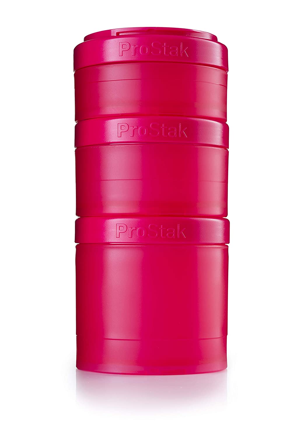 BlenderBottle ProStak Twist n' Lock Storage Jars Expansion 3-Pak with Pill Tray, Pink/Pink