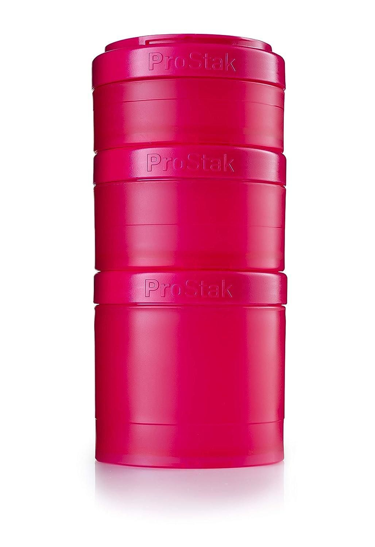BlenderBottle ProStak Twist n' Lock Storage Jars Expansion 3-Pak with Pill Tray, Pink/Pink