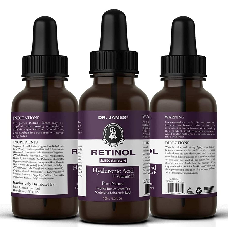 Amazon.com: Retinol Serum 2,5% con ácido hialurónico, aloe ...