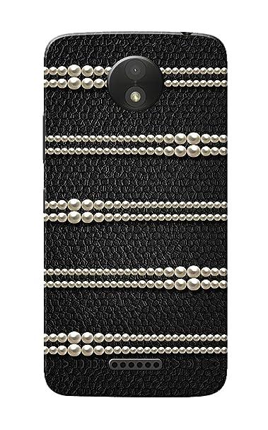 Caseria Pearls Black Slim Fit Hard Case Cover for Motorola Moto C Plus Mobile Accessories
