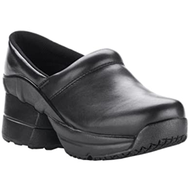 Pain Relief Footwear Men's Toffler Slip Resistant Enclosed Coil Black Leather Clog Sandal
