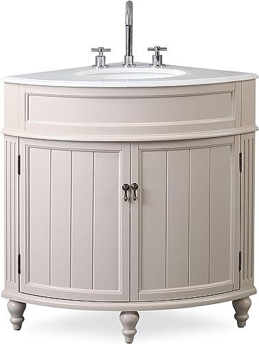 24 Thomasville Taupe Modern Slim Corner Bathroom Sink Vanity ZK-47599TP