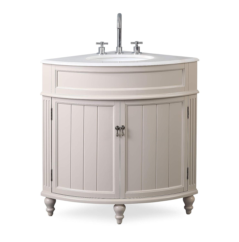 . 24  Thomasville Taupe Modern Slim Corner Bathroom Sink Vanity ZK 47599TP