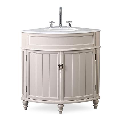 24 Thomasville Taupe Modern Slim Corner Bathroom Sink Vanity Zk