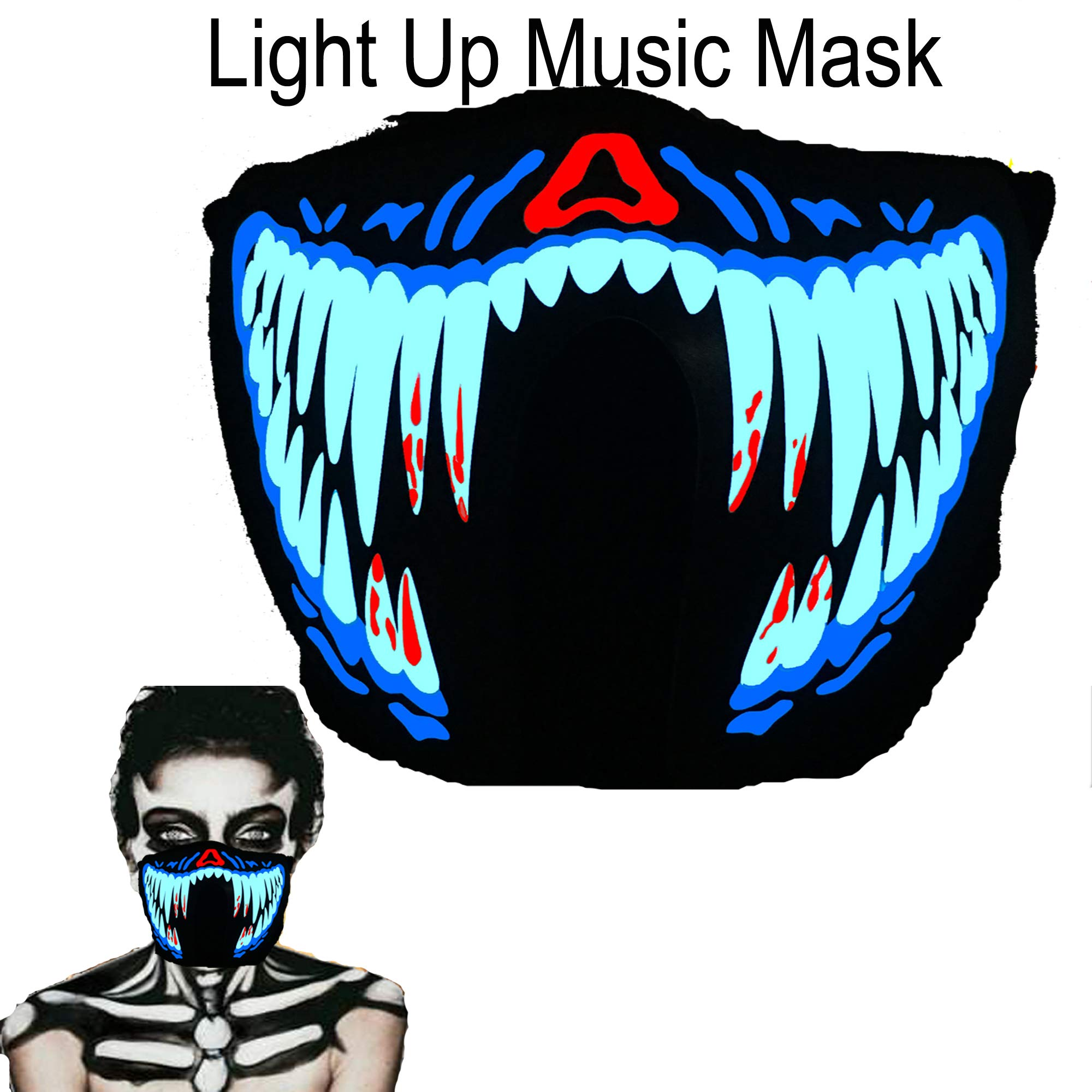 ShineWorld Music LED Party Mask with Sound Active for Dancing,Riding,Skating,Party and Any Festival (Blood Teeth)