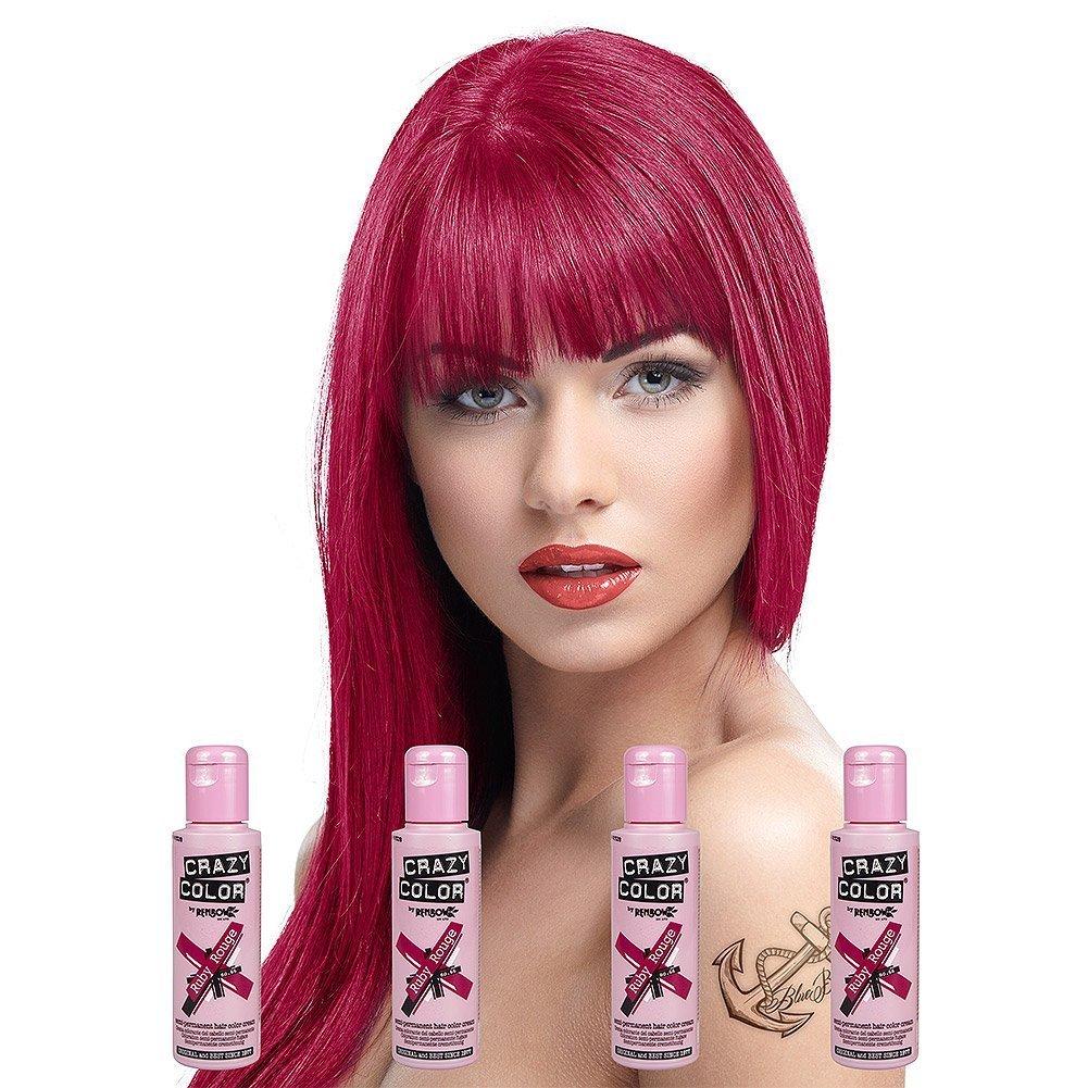 Crazy Colour Semi Permanent Hair Dye By Renbow Hot Purple No62