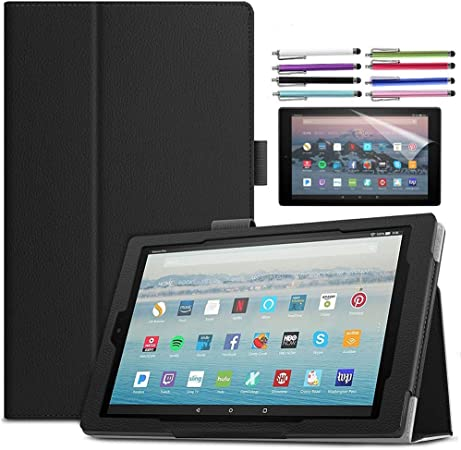 Microgadget Smart Cover For New Kindle Fire HD10 2015//2017//2019 Released 5th//7th//9th Gen Soft TPU+PU Leather Case Cartoon Wallet Stand Flip Cover Auto Wake//Sleep Full Ptotection Life Tree