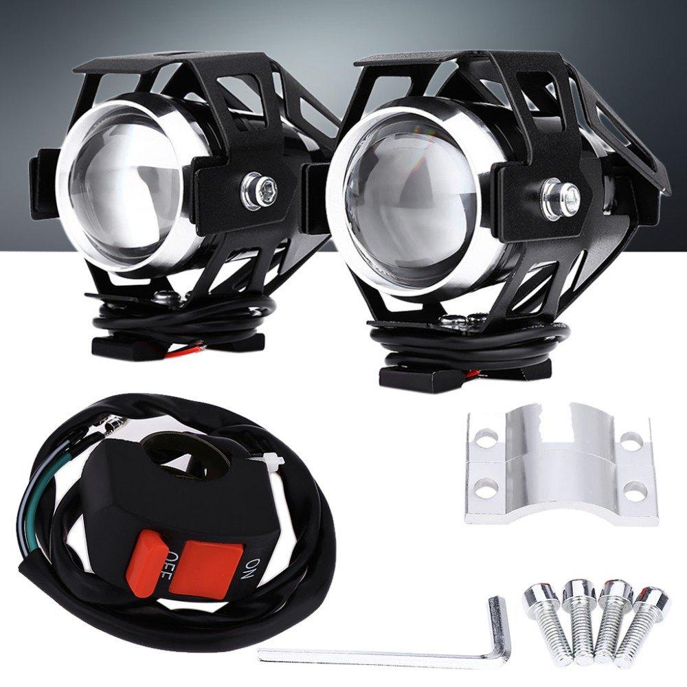 2x Faretti NERI Aggiuntivi Moto Universali a LED Fari di Profondità per tutte le moto Lollomoto