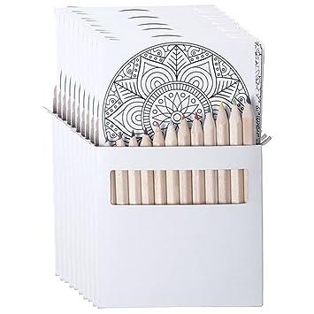 10 Sets De Lápices Y Mándalas Para Colorear Cada Uno