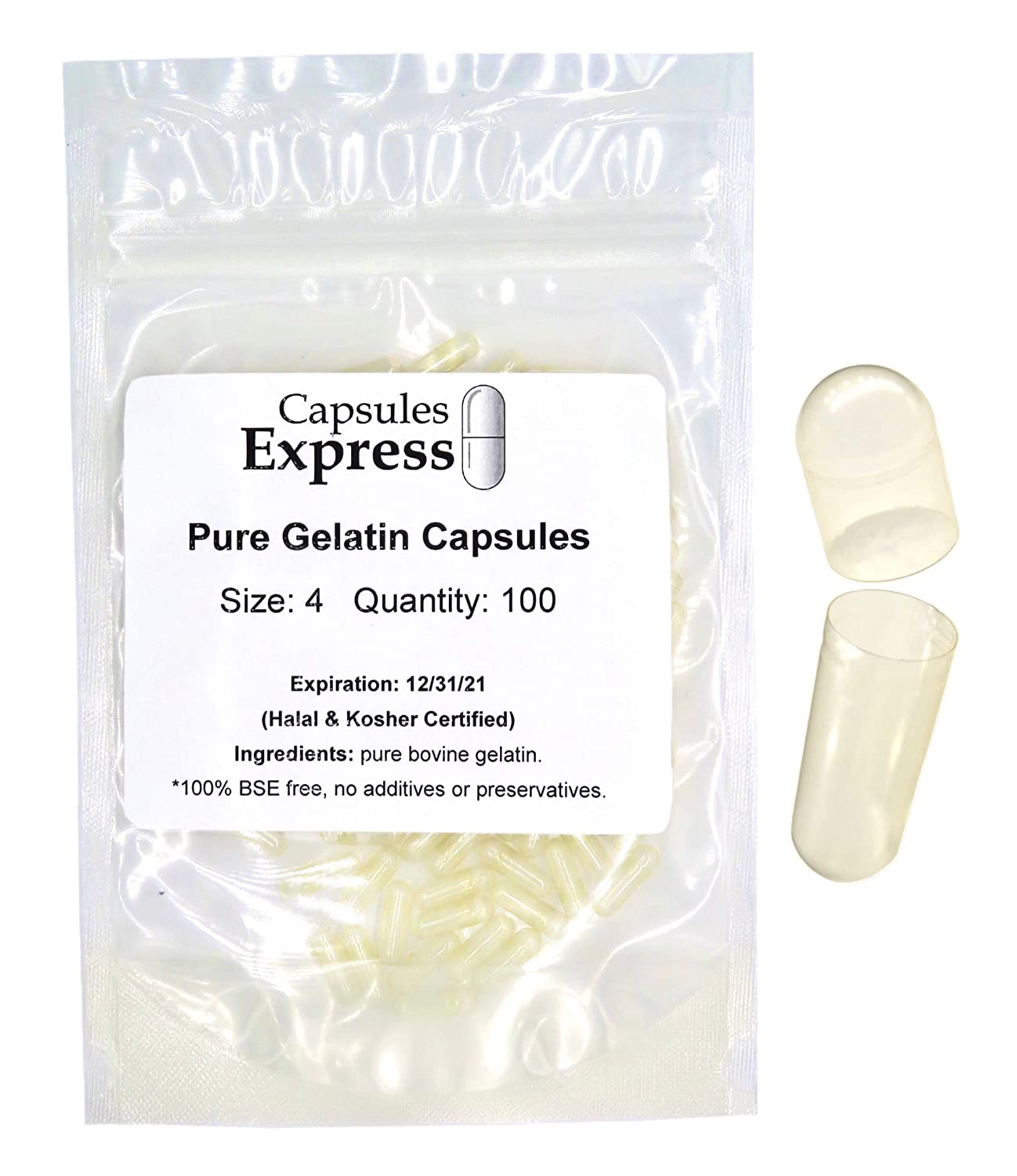 Size 4 Clear Empty Gelatin Capsules, 100 Count, Halal & Kosher Certified by Capsules Express