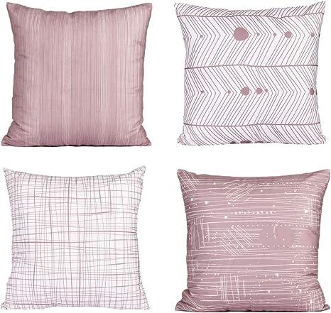 Dekokissen Sofakissen 40 x 40 cm rosa Uni Zierkissen gefüllt Baumwolle