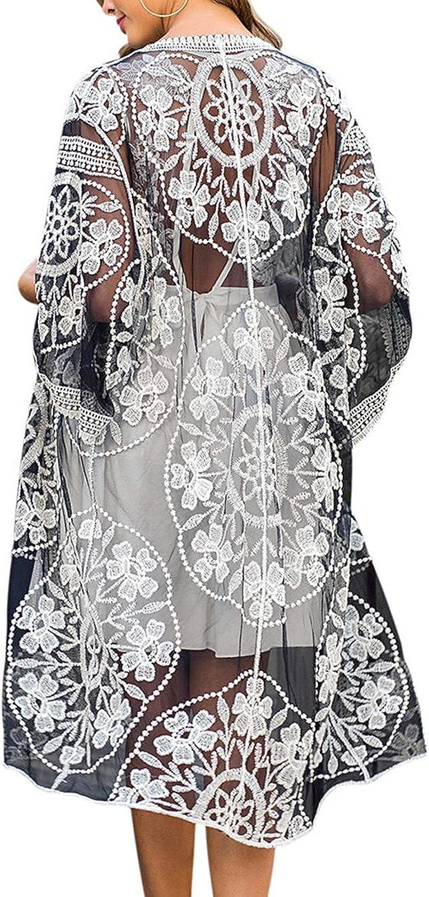 iWoo Strandtunika Damen Kimono Sommer Perspektivische Sexyhohl Spitzen Cardigan Crochet Vorne Kleidung für Damen-Schwarz Weiß: Amazon.de: Bekleidung - Strandtunika