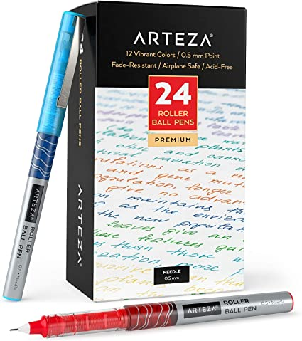 Arteza Bolígrafos de punta fina, paquete a granel de 24 bolis de colores de tinta líquida