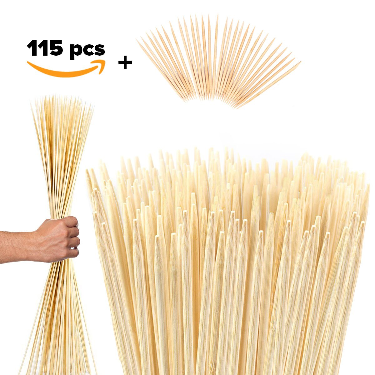 Bamboo Marshmallow Roasting Sticks Kebab Barbecue Skewers 115 Pieces 36 Inch Long 6mm Extra Thick Heavy Duty Wooden Environmentally Safe 100% Biodegradable S'mores Sticks Bonus Included Outdoor Fun by G&K WORLD Bamboo Sticks