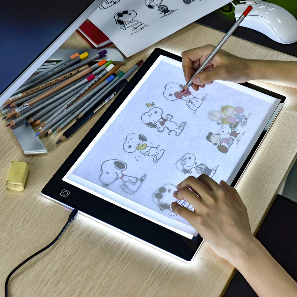Led Light Box for Drawing - Lightweight A4 Size Tracing Light Pad with USB Power Cable Ultra-Thin Portable Tattoo Light Box Tracer 3 Brightness Level Artist Light Table I-SHUNFA