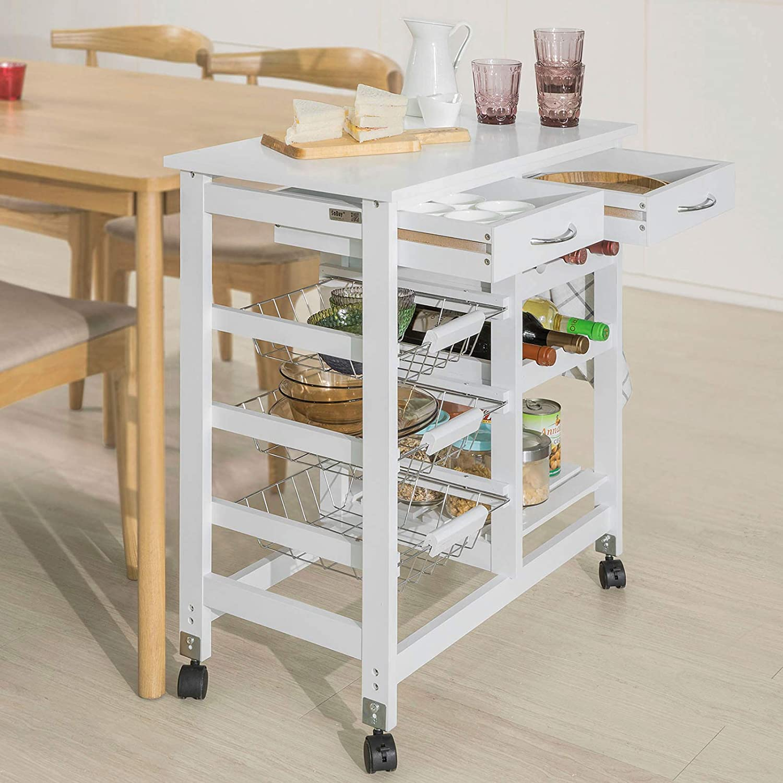 SoBuy Carrito de servir, carrito de cocina,L68 x P38 x A77cm FKW78-W (blanco): Amazon.es: Hogar