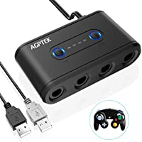 AGPtek Gamecube Controller Adaptador para Switch, Nintendo, Wii U,PC(Windows XP, Vista7,8,1, Mac IOS) AGPTEK Adaptador Mando Gamecube Switch con 4 Puerto de Adaptador y 2 puertos USB, Versión Mejorada, Negro