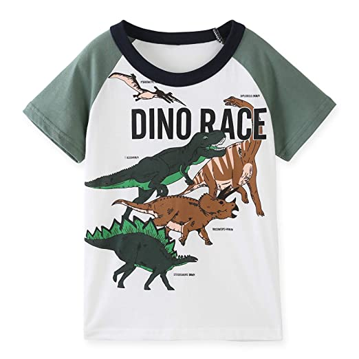 fcd3664e486 Amazon.com  HowJoJo Boys Dinosaur T Shirts Cotton Long Sleeve Shirt Graphic  Tees  Clothing