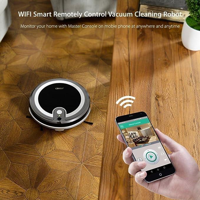 jisiwei i3 Wi-Fi WiFi staubsaug Robot con carga Sation, cámara, mediante Aplicación controlan para suelo duros, Gris: Amazon.es: Hogar