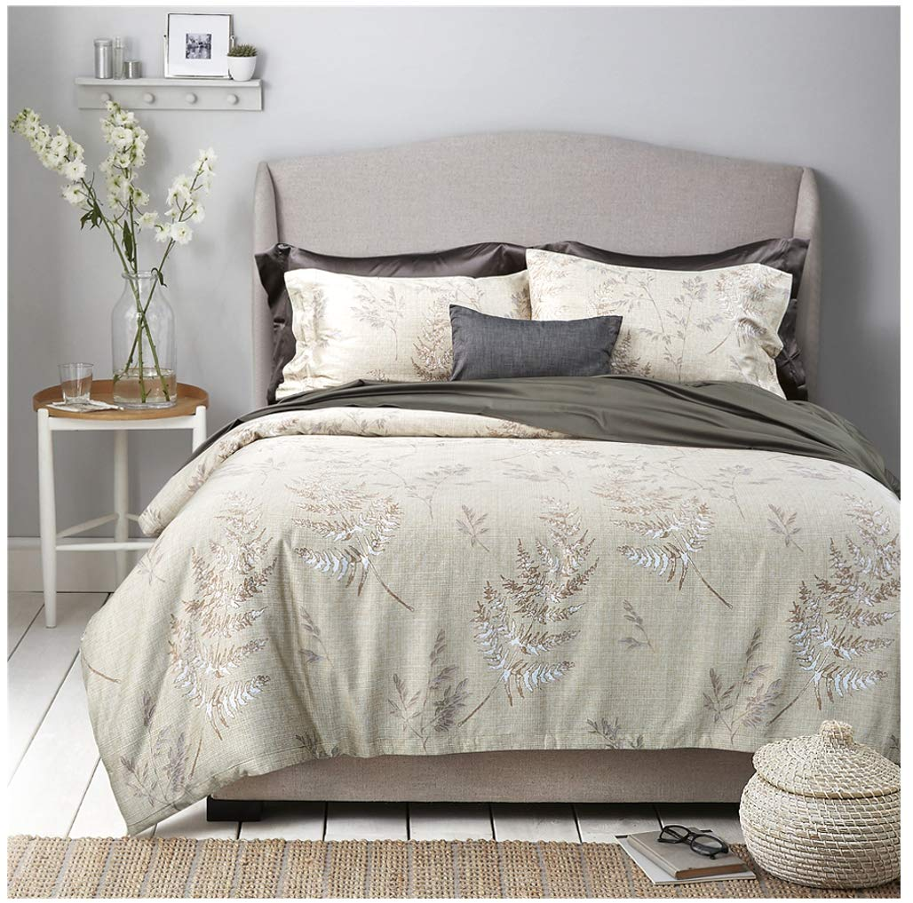 Eikei Vintage Botanical Flower Print Bedding 400tc Cotton Sateen Romantic Floral Scarf Duvet Cover 3pc Set Colorful Antique Drawing of Summer Lilies Daisy Blossoms (Queen, Hint of Lime)