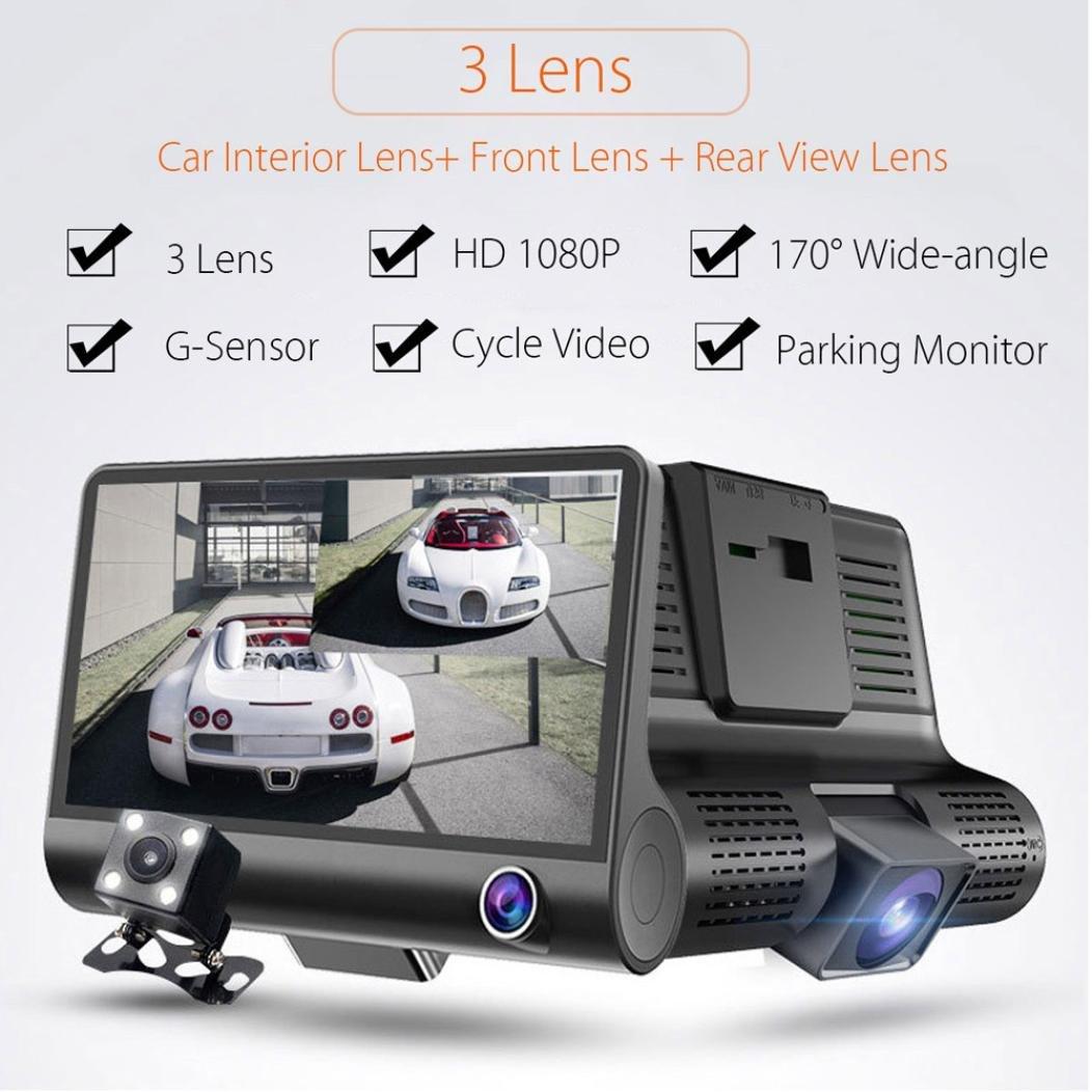 OVERMAL 3 Lens 4 '' G-sensor HD 1080P Car DVR Dash Cam Video Recorder Rearview Camera