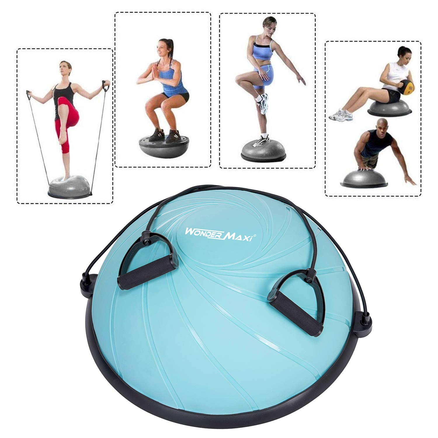 Yoga Balance Trainer Exercise Ball with Resistance Bands Half Dome Stability Ball Home Fitness Strength Exercise Workout with Pump
