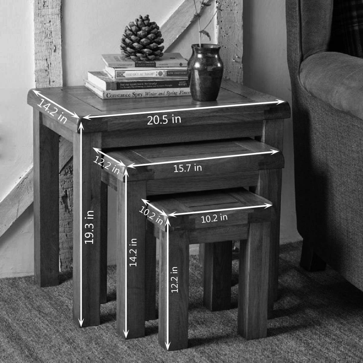 Original Oak Nest of 3 Tables Retro Style Wooden Coffee Table nest of table Nesting Set Rustic Solid