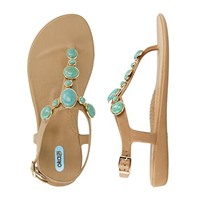 Isla Flip Flop Sandal Shoes Color Chai with Turquoise Strand by OkaB