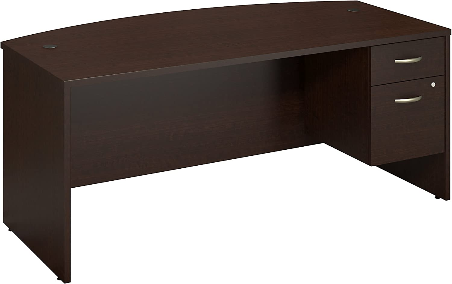 Bush Business Furniture Series C Collection 72W X 36D Bow Front Desk with 3/4 Pedestal in Mocha Cherry