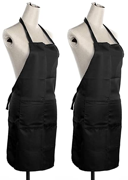 Yellow WeavesTM Waterproof Free Size Aprons Set of 2 Pcs Black Color - 22 X 30 Inches