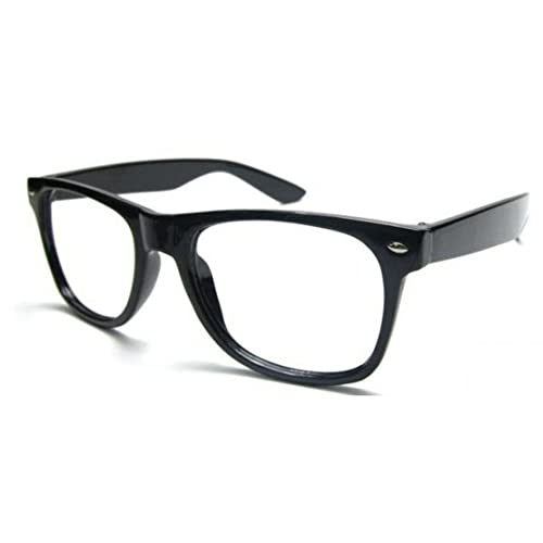 Unisex Wayfarer occhiali Uomo Dona lenti trasparenti con montatura retrò vintage nerd Festa Party